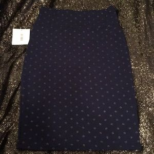 Navy Blue pencil Skirt with Gold polka dots
